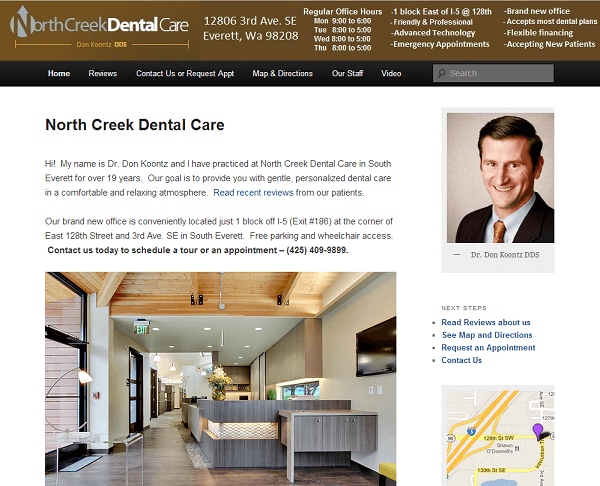 North Creek Dental Care Everett bizmktg.com example website