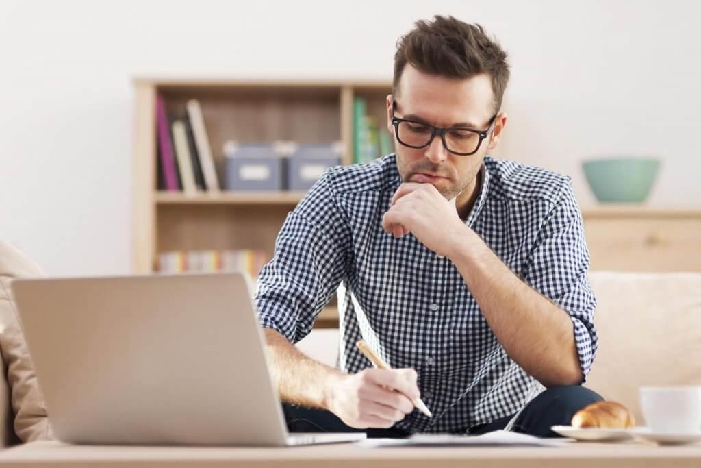 Man Woking At Computer